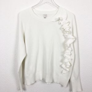 e0fd7704b5 a new day Sweaters - Women s Crewneck Ivory Ruffle Pullover Sweater